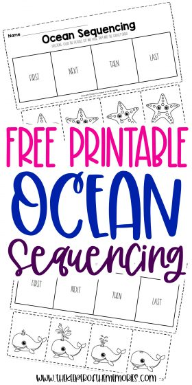 collage of ocean worksheets with text: Free Printable Ocean Sequencing Worksheets