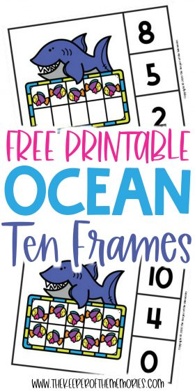 Ocean Ten Frame Clip Cards with text: Free Printable Ocean Ten Frames