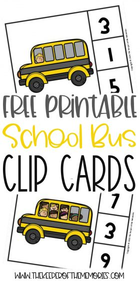 school bus counting clip cards with text: Free Printable School Bus Clip Cards
