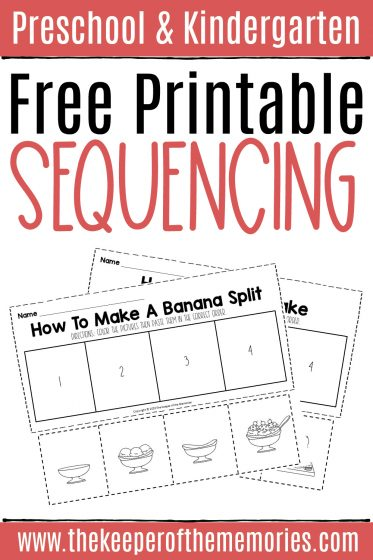 collage of Free Sequencing Cut and Paste Worksheets with text: Preschool & Kindergarten Free Printable Sequencing