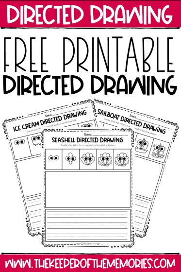 Summer Directed Drawing Printables with text: Free Printable Directed Drawing