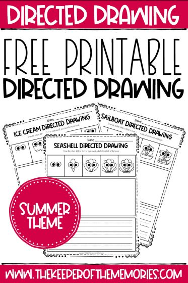 Summer Directed Drawing Printables with text: Free Printable Directed Drawing Summer Theme