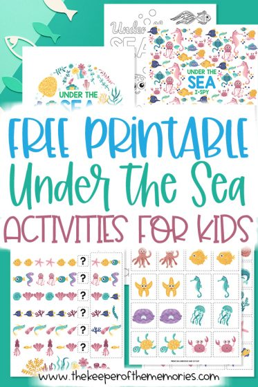collage of under the sea printables with text: Free Printable Under the Sea Activities for Kids