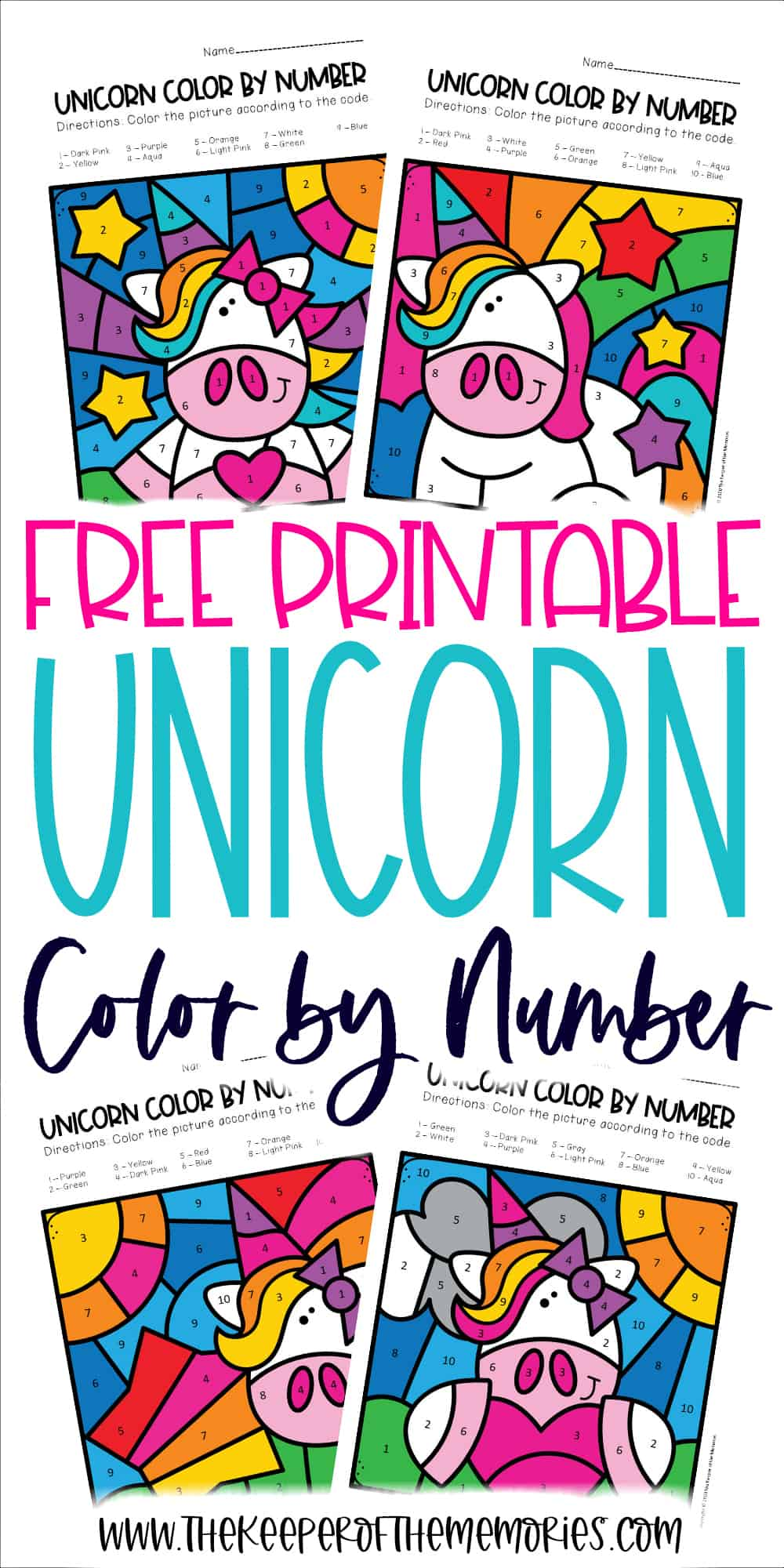 Free Color by Number Unicorn Printables