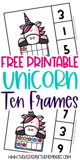 collage of ten frame unicorn printables with text: Free Printable Unicorn Ten Frames