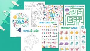 collage of under the sea printables