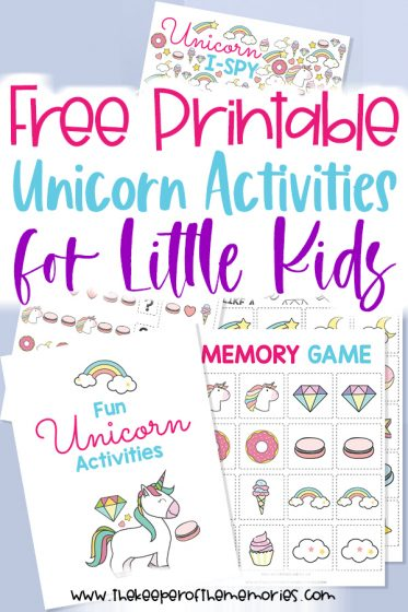 collage of free unicorn printables with text: Free Printable Unicorn Activities for Little Kids