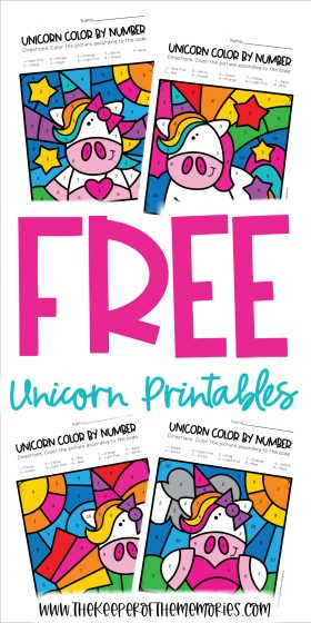 collage of color by number unicorn printables with text: Free Unicorn Printables