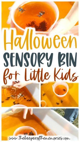 collage of Halloween Sensory Bin images with text: Halloween Sensory Bin for Little Kids