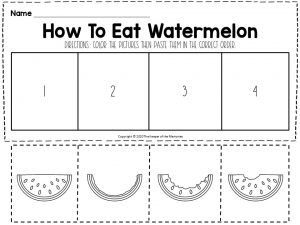 How To Eat Watermelon Sequencing Worksheet