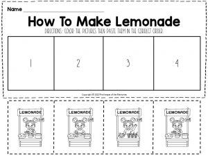How To Make Lemonade Sequencing Worksheet