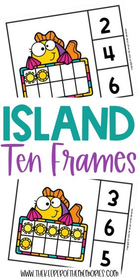 Island Ten Frame Clip Cards with text: Island Ten Frames