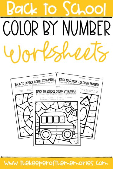 collage of color by number kindergarten worksheets with text: Back to School Color by Number Worksheets