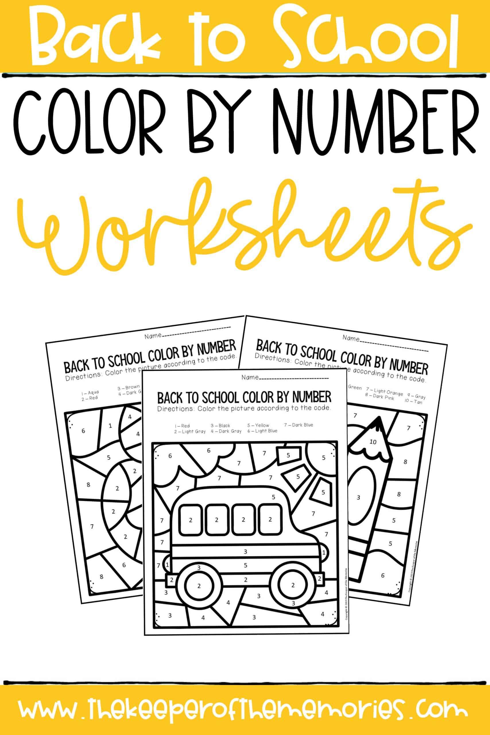 Color by Number Back to School Kindergarten Worksheets