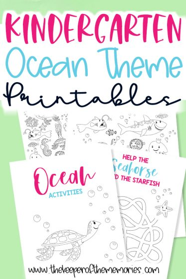 collage of ocean printables with text: Kindergarten Ocean Theme Printables