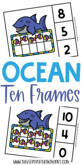 Ocean Ten Frame Clip Cards with text: Ocean Clip Cards