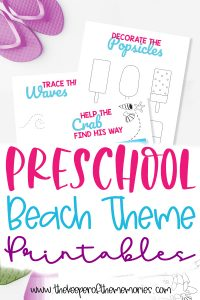 collage of beach printables with text: Preschool Beach Theme Printables