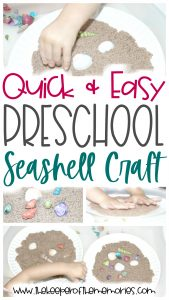 collage of preschool seashell craft images with text: Quick & Easy Preschool Seashell Craft