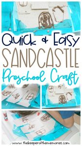 collage of sandcastle craft images with text: Quick & Easy Sandcastle Preschool Craft