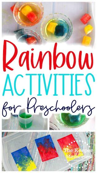collage of rainbow activities with text: Rainbow Activities for Preschoolers