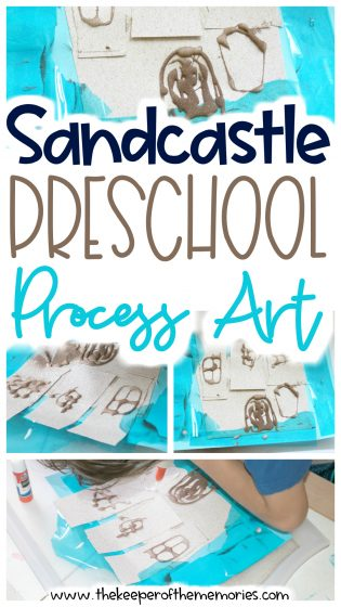 collage of sandcastle craft images with text: Sandcastle Preschool Process Art