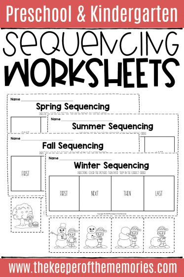 collage of sequencing worksheets for kindergarten with text: Preschool & Kindergarten Sequencing Worksheets