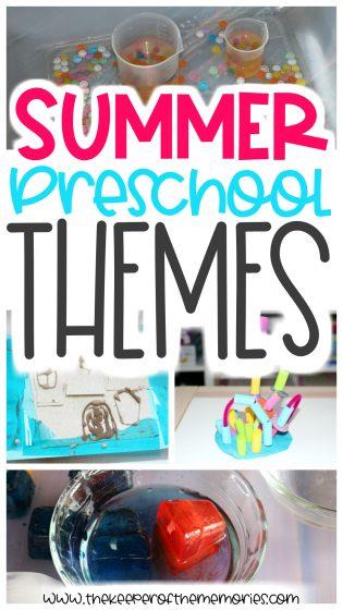 collage of summer preschool activities with text: Summer Preschool Themes