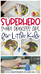 collage of swirl process art images with text: Superhero Swirl Process Art for Little Kids