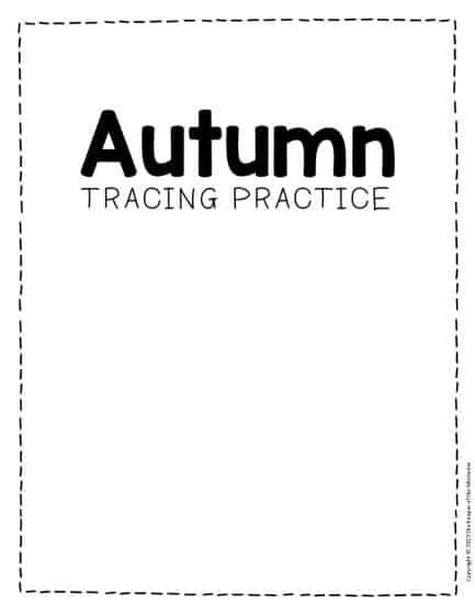 Tracing Fall Preschol Worksheets