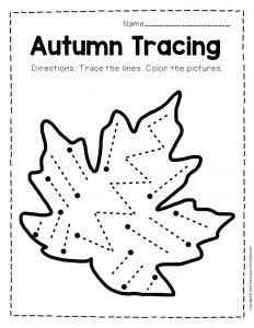 Tracing Fall Preschool Worksheets 2