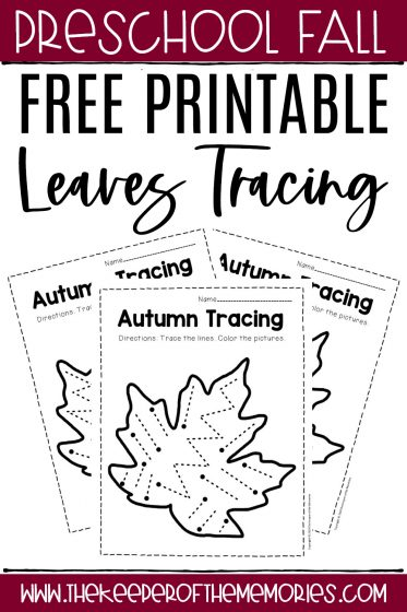 collage of fall tracing worksheets with text: Free Printable Leaves Tracing