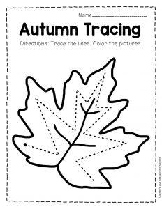 Tracing Fall Preschool Worksheets 4