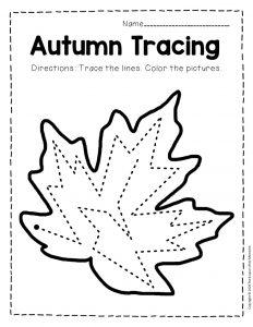 Tracing Fall Preschool Worksheets 5
