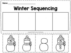 Building A Snowman Winter Sequencing for Kindergartners