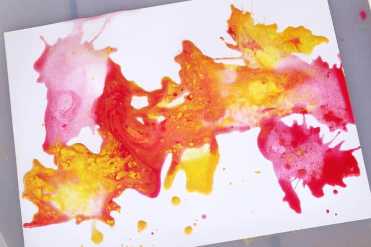 blow painting process art activity for little kids