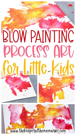 collage of process art images with text: Blow Painting Process Art for Little Kids