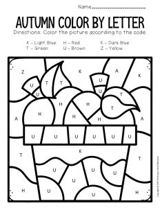 Color by Capital Letter Fall Preschool Worksheets Apples