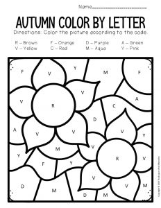 Color by Capital Letter Fall Preschool Worksheets Flowers