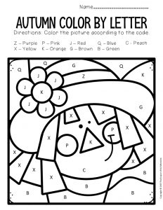 Color by Capital Letter Fall Preschool Worksheets Scarecrow