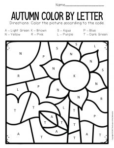 Color by Capital Letter Fall Preschool Worksheets Sunflowers