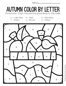 Color by Lowercase Letter Fall Preschool Worksheets Apples