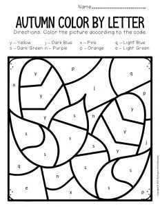 Color by Lowercase Letter Fall Preschool Worksheets Corn