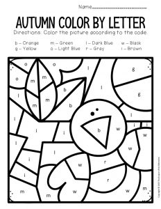 Color by Lowercase Letter Fall Preschool Worksheets Crow