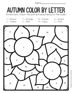 Color by Lowercase Letter Fall Preschool Worksheets Flowers