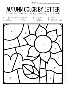 Color by Lowercase Letter Fall Preschool Worksheets Sunflower