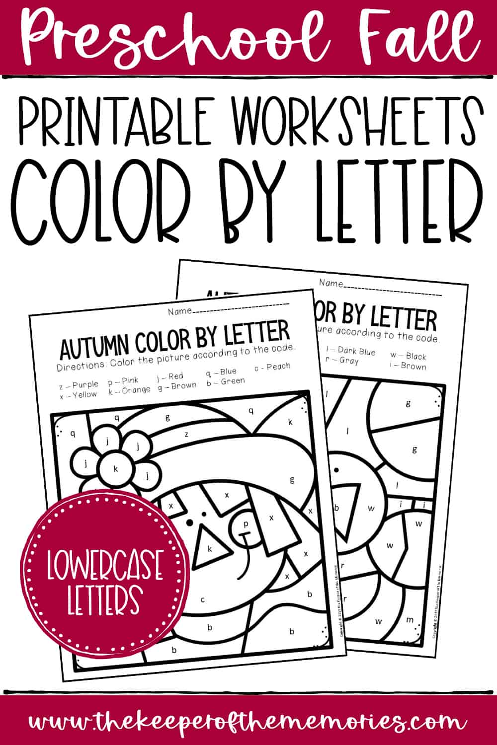 Color by Lowercase Letter Fall Preschool Worksheets