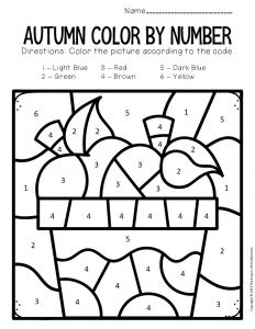 Color by Number Fall Preschool Worksheets Apples
