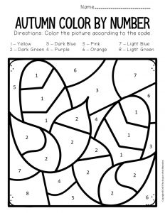 Color by Number Fall Preschool Worksheets Corn