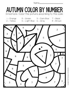 Color by Number Fall Preschool Worksheets Crow