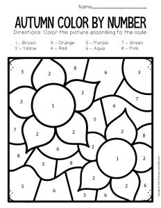 Color by Number Fall Preschool Worksheets Flowers